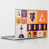 the legend of zelda Laptop & iPad Skins featuring Legend of Zelda Items by Ann Van Haeken