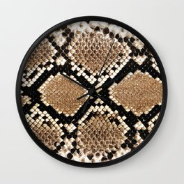 Pastel brown black white snakeskin animal pattern Wall Clock