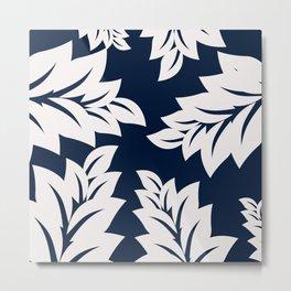 Navy Blue tropical leaves Metal Print