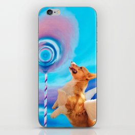 Giant pink cloud lollipop and a flying corgi iPhone Skin