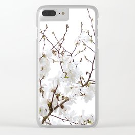 Spring White Flowers Clear iPhone Case