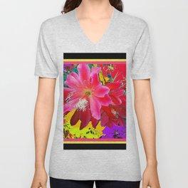 Black Design Tropical Pink Floral Art Unisex V-Neck