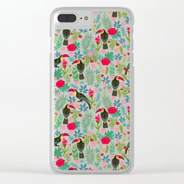 Floral Toucan Clear iPhone Case