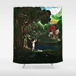Satan Tempting Even in the Garden of Eden Landscape Painting by Jeanpaul Ferro Shower Curtain
