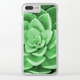Succulent Blossom green color Clear iPhone Case