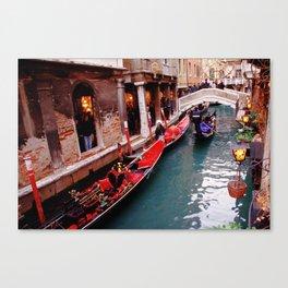 Gondolas On A Small Venetian Canal Canvas Print