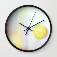 ballon Wall Clocks featuring yellow ballon by creazer