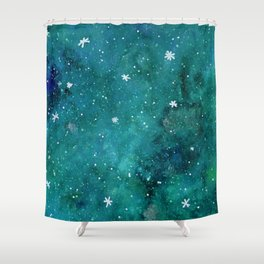 Watercolor galaxy - teal Shower Curtain