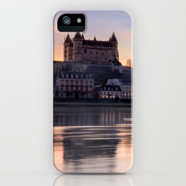 Saumur castle and the Loire river at sunset iPhone Case