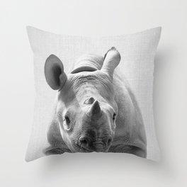 Baby Rhino - Black & White Throw Pillow