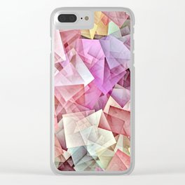 Geometric Stacks Pastel Clear iPhone Case