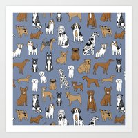 Dogs pattern minimal drawing dog breeds cute pattern gifts by andrea lauren Art Print