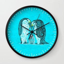 Swirly Penguin Family Wall Clock
