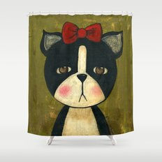 Portrait Of A Boston Terrier Dog Shower Curtain
