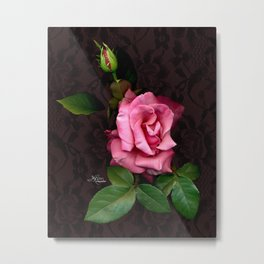 Pink Rose on Black Lace, Scanography Metal Print