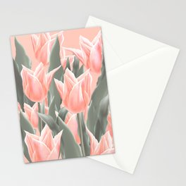 Stylish Peach Tulips Flowers Watercolor Illustration, coral pink color background. Boho style Stationery Cards