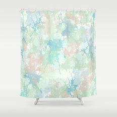 Abstract Mint Blue Watercolor Splashes Shower Curtain