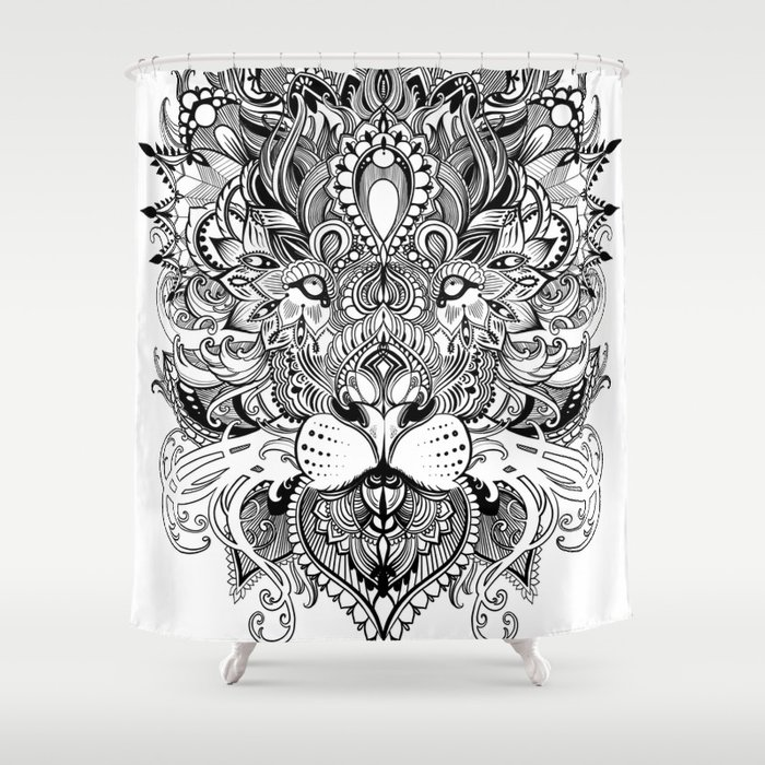 Black And White Geometric Pattern Mandala Lion Face Shower Curtain