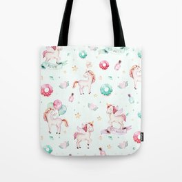 Magical pink teal watercolor mystical typography unicorn Tote Bag