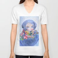 jack frost V-neck T-shirts featuring Frost by katalena