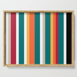 Striped abstract background. Vertical stripes line color. Red, black,white, yellow, orange, turquois Serving Tray