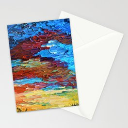 Evening Sunset - Abstract Sky Oil Painting Stationery Cards