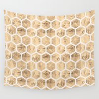 honeycomb Wall Tapestries featuring HoneyComb (Sand) by NewSerenity