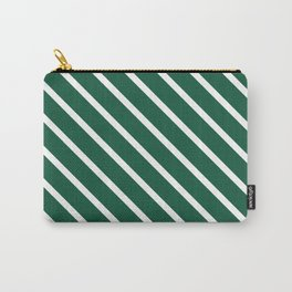 Teal The World (Green) Diagonal Stripes Carry-All Pouch