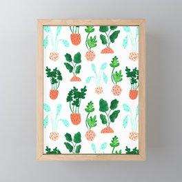 Painted Postmodern Potted Plants in White Framed Mini Art Print
