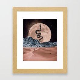 Pink full moon Framed Art Print