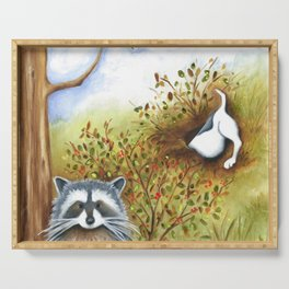 Silly Dog  Jack Russell Terrier, Raccoon, Landscape Painting, Original Art Serving Tray