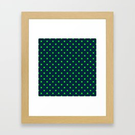 Navy and Neon Lime Green Polka Dots Framed Art Print