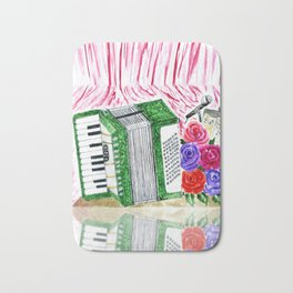 Accordion with roses Bath Mat