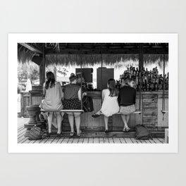 Girls at a beach bar cafe - Fine art photography Art Print