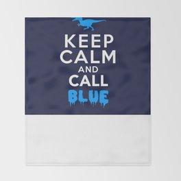 Keep Calm and Call Blue | Jurassic Raptor Dinosaur Throw Blanket