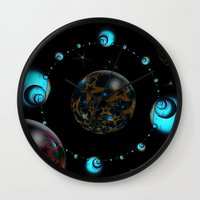 starry night Wall Clocks featuring Starry Starry Night by inkedsandra