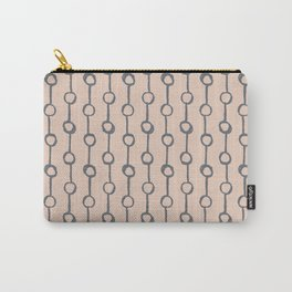 Minimalist Vertical Dot Stripe Navy Gray on Blush Pink Carry-All Pouch