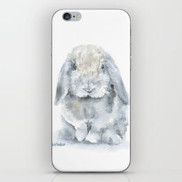 Mini Lop Gray Rabbit Watercolor Painting iPhone Skin