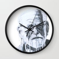 freud Wall Clocks featuring Sigmund Freud by Sobottastudies