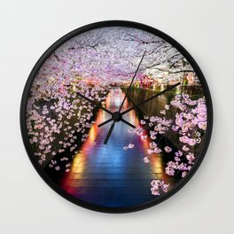 Cherry Blossom in pink   Japan Nakameguro River Wall Clock