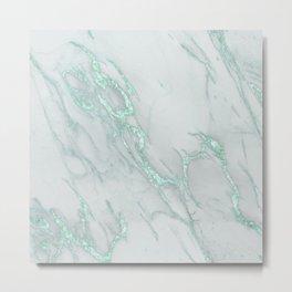 Marble Love Mint Metallic Metal Print