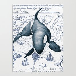 Orca Ancient Map Poster