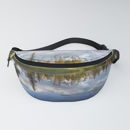Grand Tetons and Trees Reflected in Snake River at Schwabacher's Landing Fanny Pack