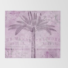 Pink Vintage Palm Tree And Travel Typography Art Throw Blanket