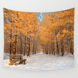 Gold Winter Pine Forest Trail Wall Tapestry