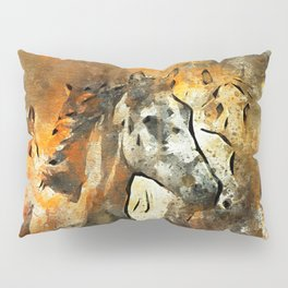 Watercolor Galloping Horses On Raw Canvas | Splatter Painting Pillow Sham