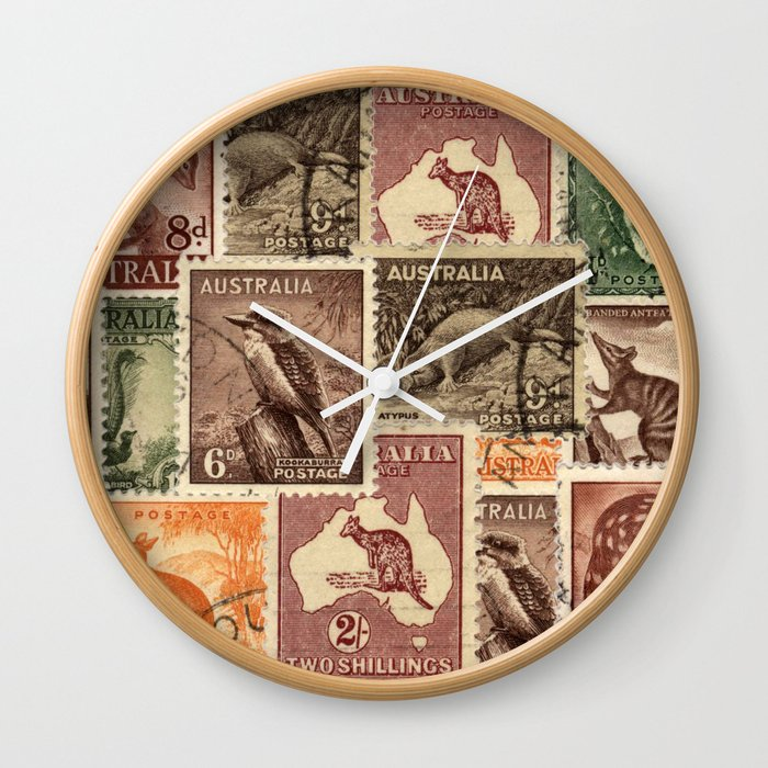 Vintage Australian Postage Stamps Collection Wall Clock