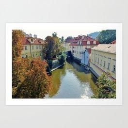 Watermill on Vltava River Art Print