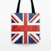 union jack Tote Bags featuring Union Jack by Laura Ruth