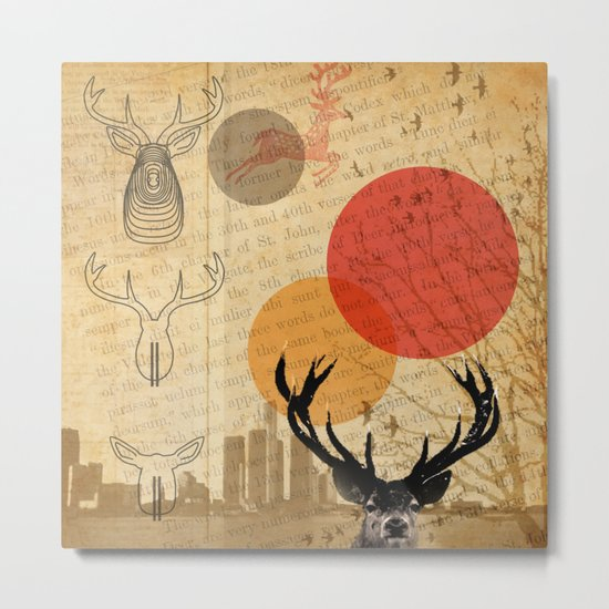 deer in the city Metal Print